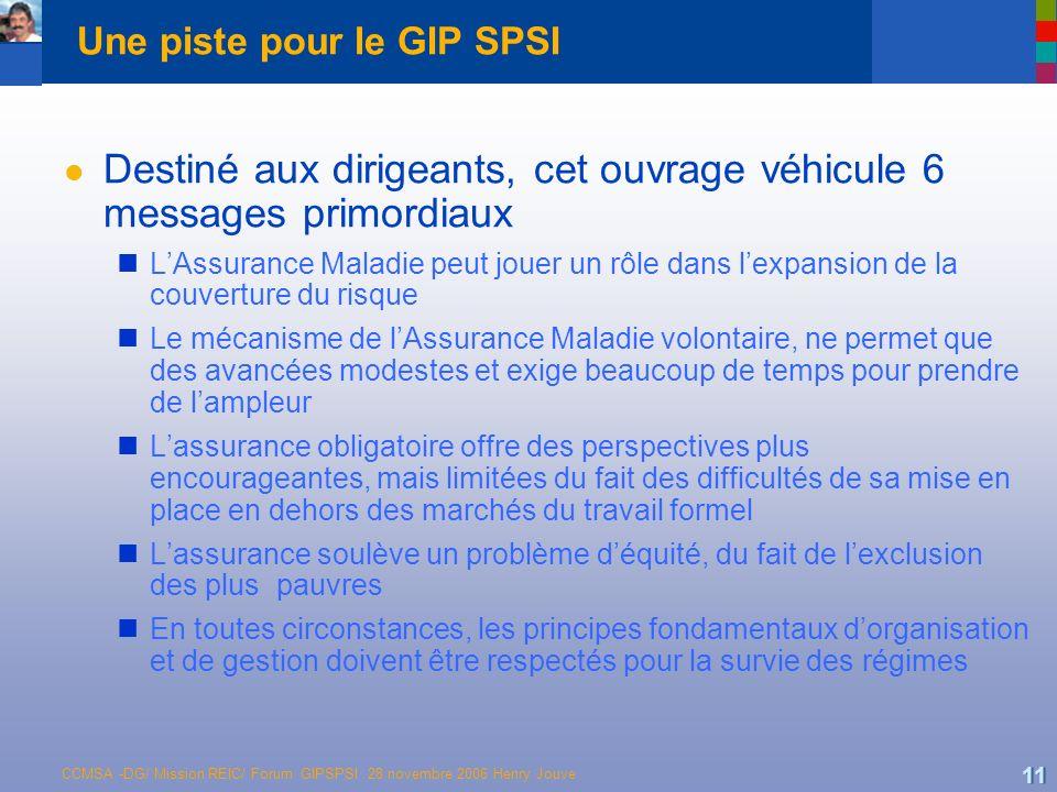 CCMSA -DG/ Mission REIC/ Forum GIPSPSI 28 novembre 2006 Henry Jouve 11 Une piste pour le GIP SPSI l Destiné aux dirigeants, cet ouvrage véhicule 6 mes