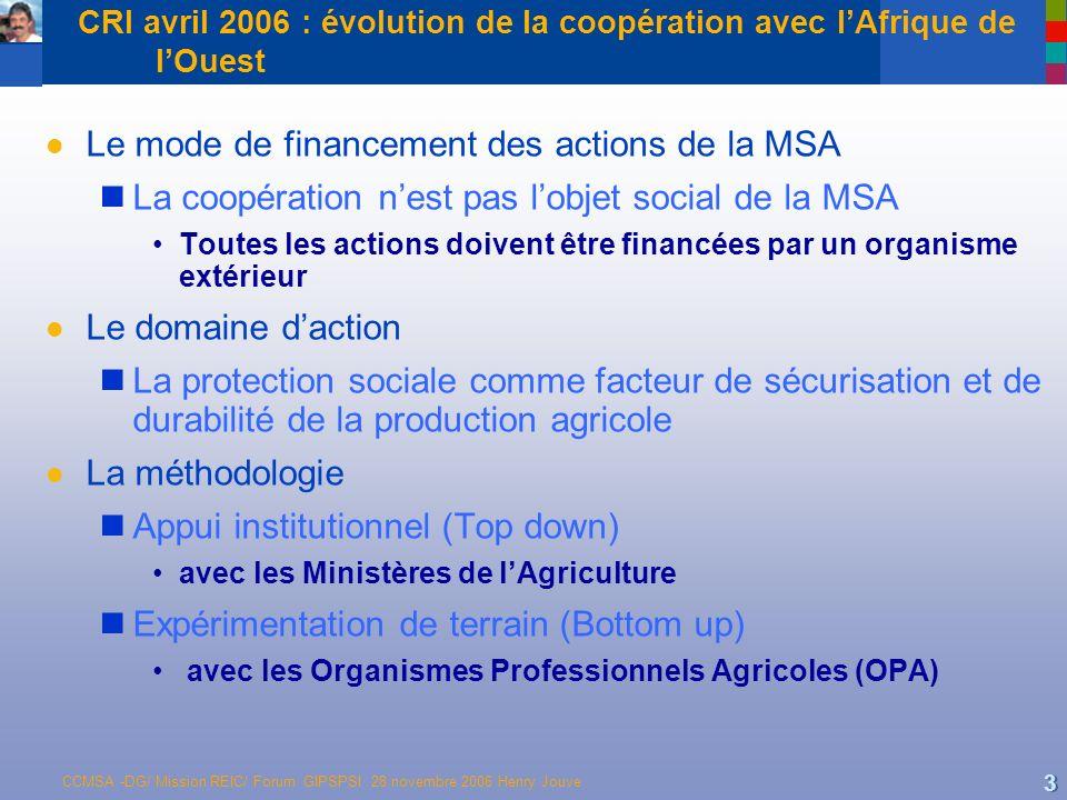 CCMSA -DG/ Mission REIC/ Forum GIPSPSI 28 novembre 2006 Henry Jouve 3 CRI avril 2006 : évolution de la coopération avec lAfrique de lOuest l Le mode d