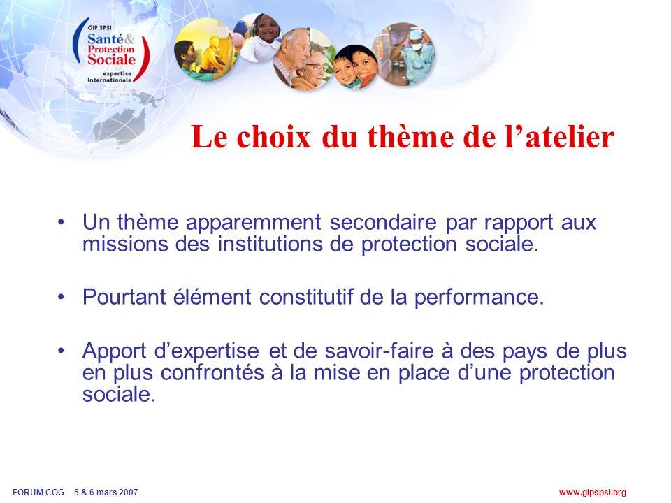 www.gipspsi.org FORUM COG – 5 & 6 mars 2007 Le choix du thème de latelier Un thème apparemment secondaire par rapport aux missions des institutions de protection sociale.