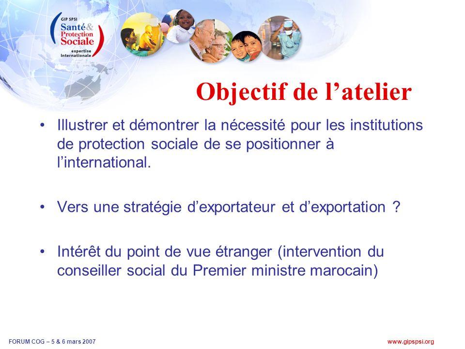 Objectif de latelier Illustrer et démontrer la nécessité pour les institutions de protection sociale de se positionner à linternational.