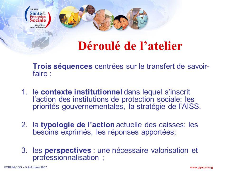www.gipspsi.org FORUM COG – 5 & 6 mars 2007 Déroulé de latelier Trois séquences centrées sur le transfert de savoir- faire : 1.le contexte institutionnel dans lequel sinscrit laction des institutions de protection sociale: les priorités gouvernementales, la stratégie de lAISS.