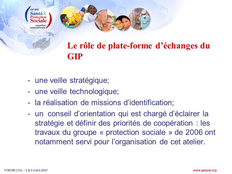 www.gipspsi.org FORUM COG – 5 & 6 mars 2007 Le rôle de plate-forme déchanges du GIP -une veille stratégique; -une veille technologique; -la réalisation de missions didentification; -un conseil dorientation qui est chargé déclairer la stratégie et définir des priorités de coopération : les travaux du groupe « protection sociale » de 2006 ont notamment servi pour lorganisation de cet atelier.
