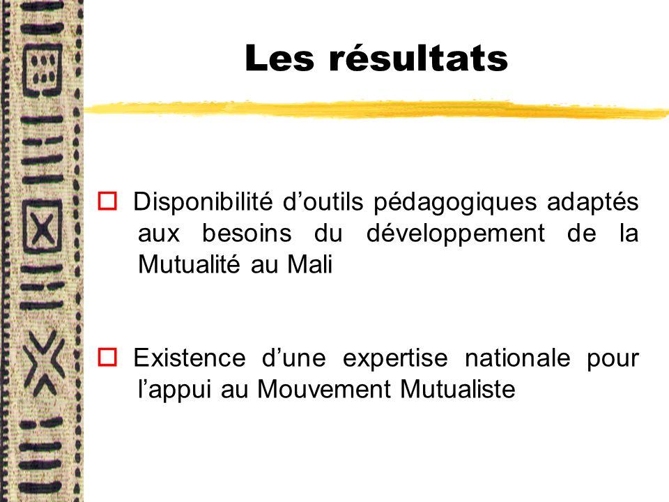 Les résultats o Disponibilité doutils pédagogiques adaptés aux besoins du développement de la Mutualité au Mali o Existence dune expertise nationale p