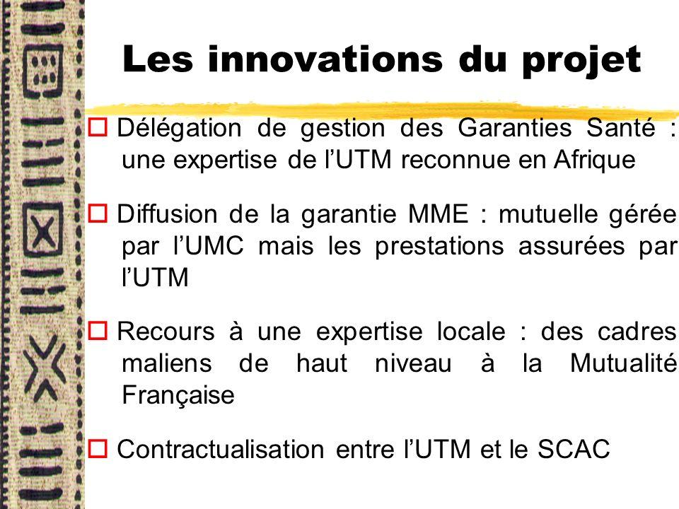 Les innovations du projet o Délégation de gestion des Garanties Santé : une expertise de lUTM reconnue en Afrique o Diffusion de la garantie MME : mut