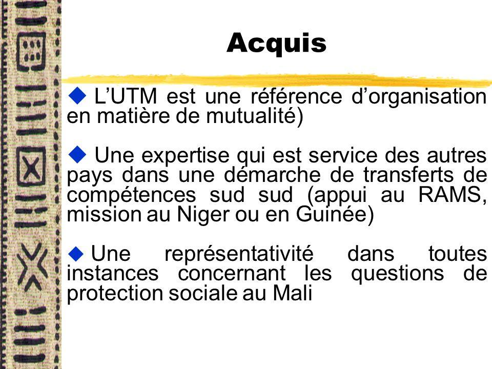 Acquis u LUTM est une référence dorganisation en matière de mutualité) u Une expertise qui est service des autres pays dans une démarche de transferts