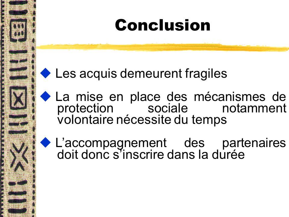 Conclusion u Les acquis demeurent fragiles u La mise en place des mécanismes de protection sociale notamment volontaire nécessite du temps u Laccompag