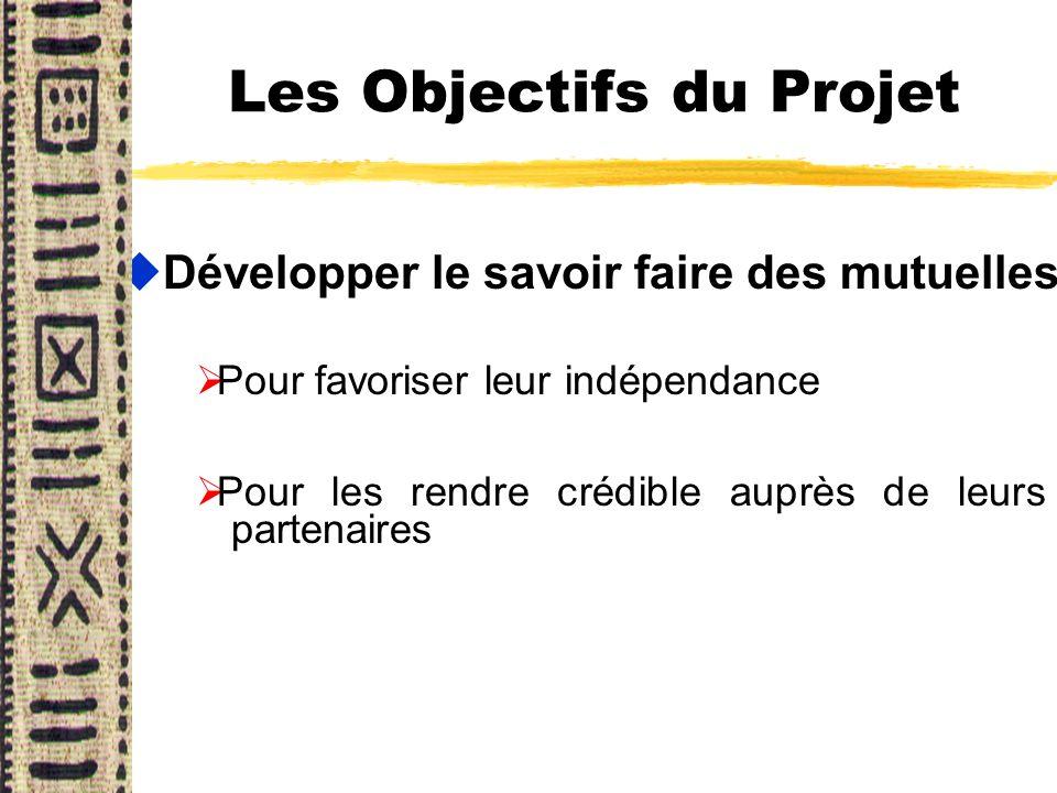 Les Objectifs du Projet uDévelopper le savoir faire des mutuelles Pour favoriser leur indépendance Pour les rendre crédible auprès de leurs partenaire