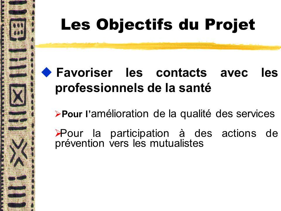 Les Objectifs du Projet u Favoriser les contacts avec les professionnels de la santé Pour l amélioration de la qualité des services Pour la participat