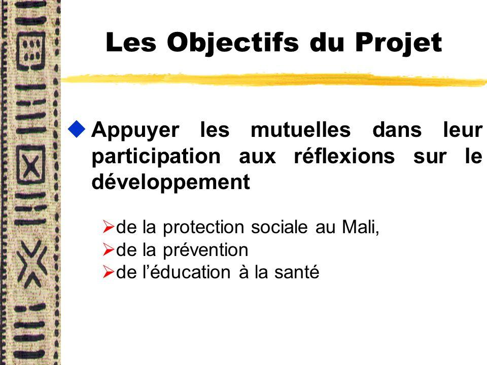 Les Objectifs du Projet uAppuyer les mutuelles dans leur participation aux réflexions sur le développement Ø de la protection sociale au Mali, Ø de la