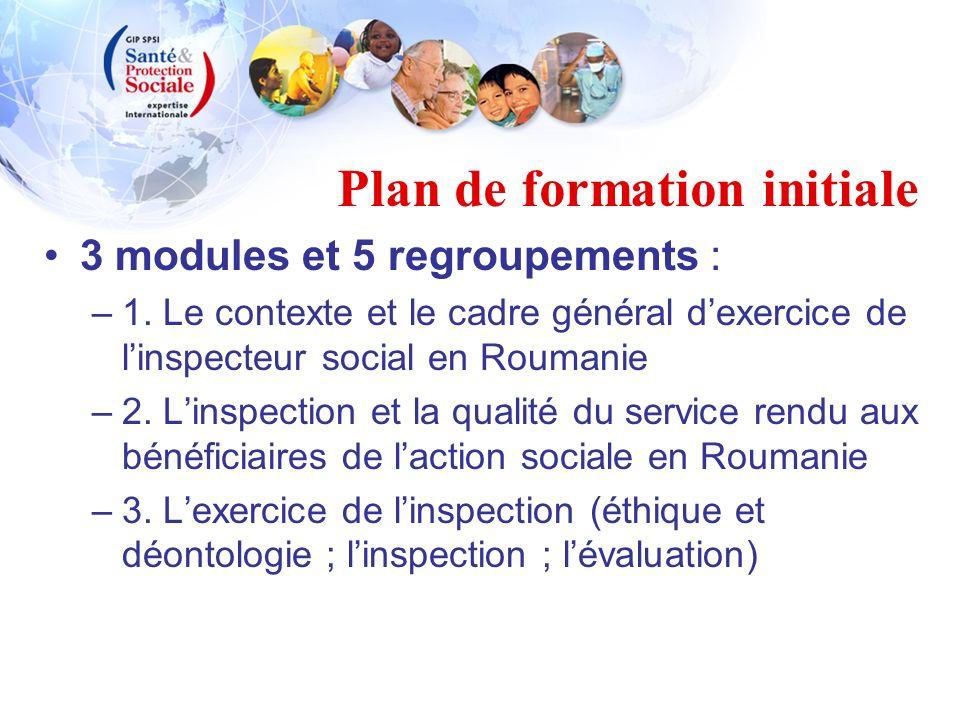 Plan de formation initiale 3 modules et 5 regroupements : –1. Le contexte et le cadre général dexercice de linspecteur social en Roumanie –2. Linspect