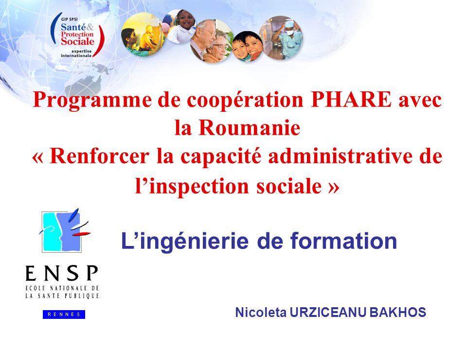 Programme de coopération PHARE avec la Roumanie « Renforcer la capacité administrative de linspection sociale » Nicoleta URZICEANU BAKHOS Lingénierie