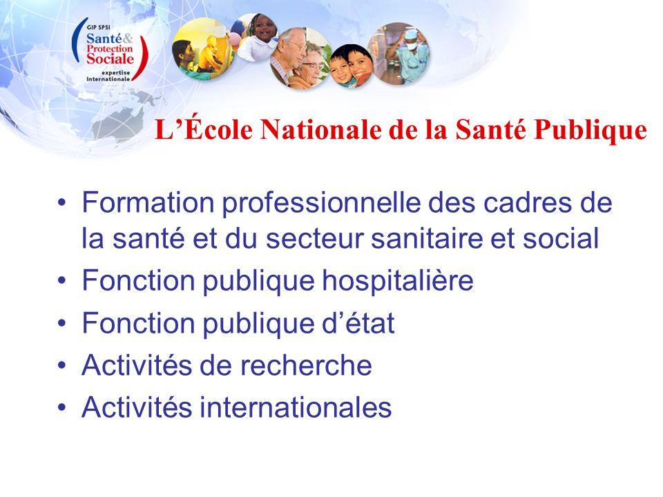 LÉcole Nationale de la Santé Publique Formation professionnelle des cadres de la santé et du secteur sanitaire et social Fonction publique hospitalièr