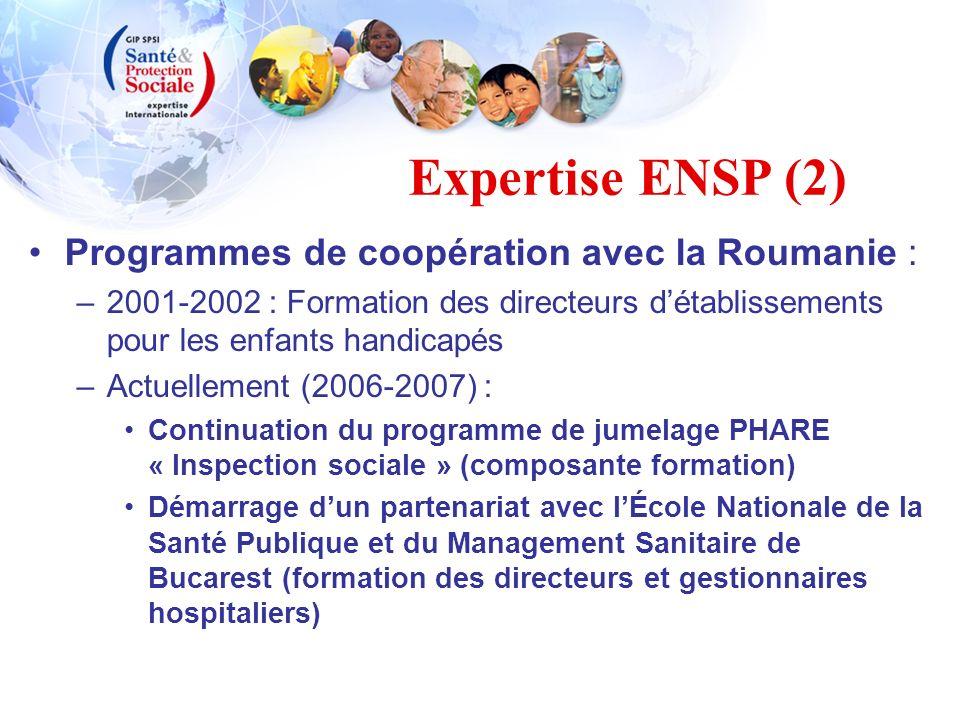 Programmes de coopération avec la Roumanie : –2001-2002 : Formation des directeurs détablissements pour les enfants handicapés –Actuellement (2006-200