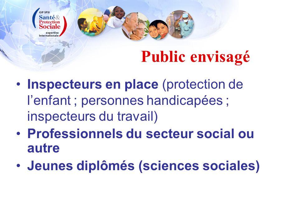 Public envisagé Inspecteurs en place (protection de lenfant ; personnes handicapées ; inspecteurs du travail) Professionnels du secteur social ou autr