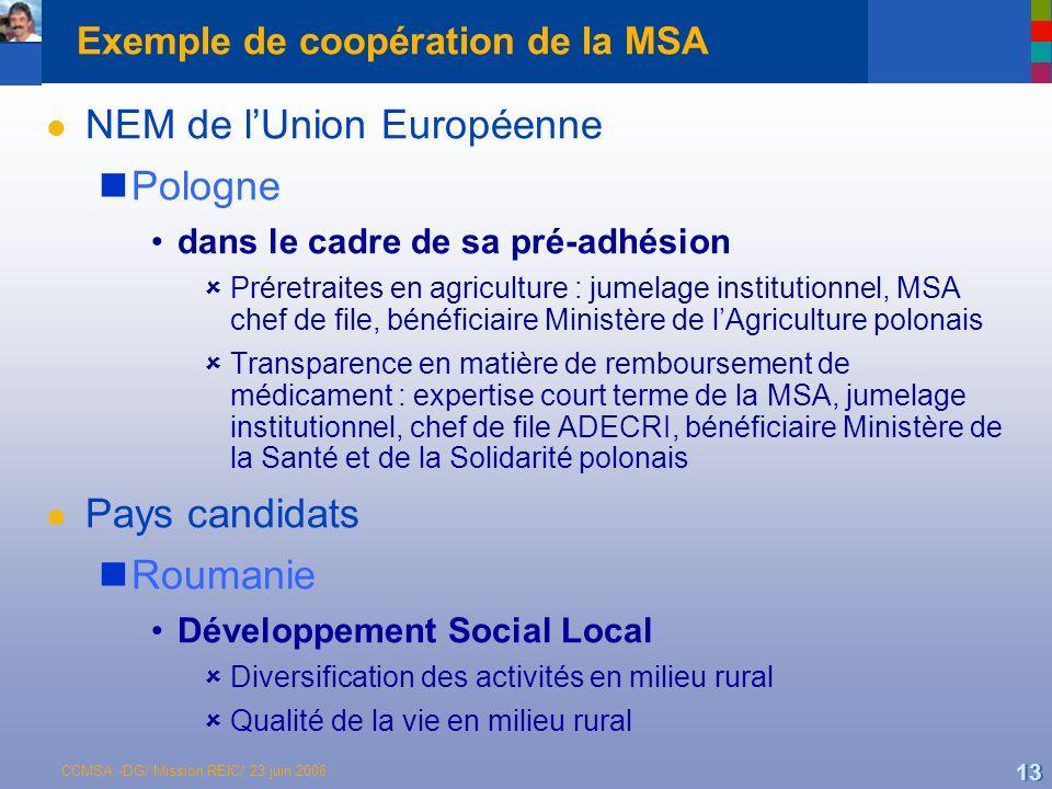 CCMSA -DG/ Mission REIC/ 23 juin 2006 13 Exemple de coopération de la MSA l NEM de lUnion Européenne Pologne dans le cadre de sa pré-adhésion Préretraites en agriculture : jumelage institutionnel, MSA chef de file, bénéficiaire Ministère de lAgriculture polonais Transparence en matière de remboursement de médicament : expertise court terme de la MSA, jumelage institutionnel, chef de file ADECRI, bénéficiaire Ministère de la Santé et de la Solidarité polonais l Pays candidats Roumanie Développement Social Local Diversification des activités en milieu rural Qualité de la vie en milieu rural