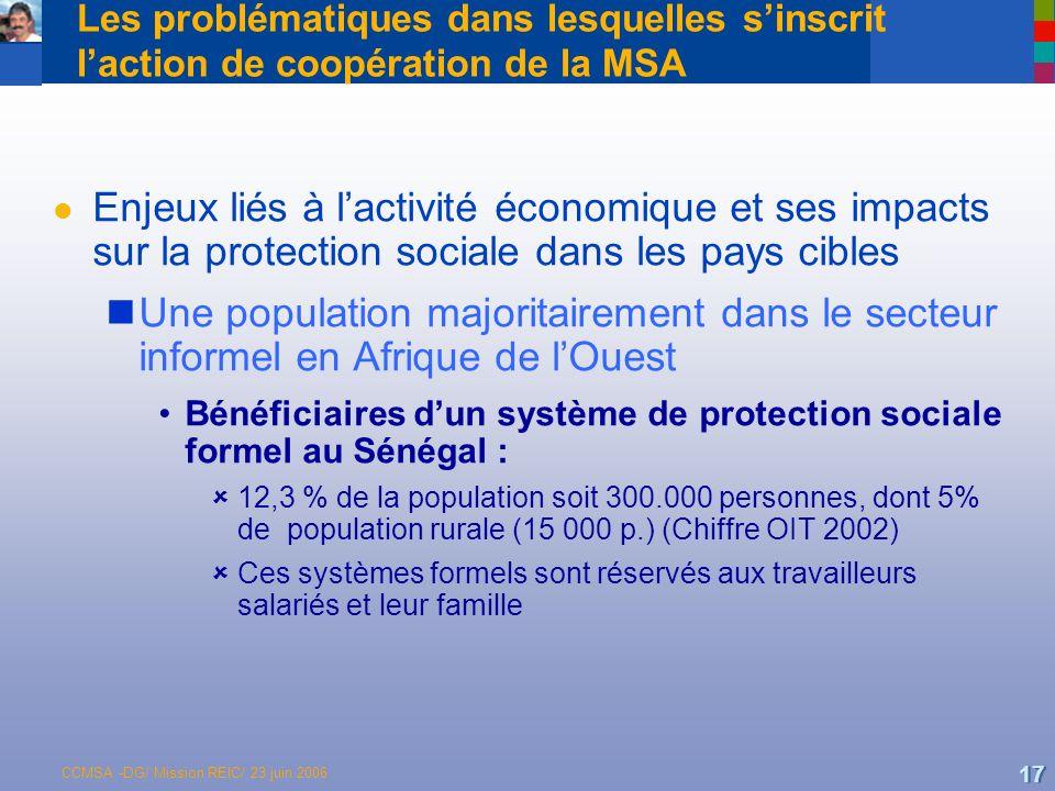 CCMSA -DG/ Mission REIC/ 23 juin 2006 17 Les problématiques dans lesquelles sinscrit laction de coopération de la MSA l Enjeux liés à lactivité économique et ses impacts sur la protection sociale dans les pays cibles Une population majoritairement dans le secteur informel en Afrique de lOuest Bénéficiaires dun système de protection sociale formel au Sénégal : 12,3 % de la population soit 300.000 personnes, dont 5% de population rurale (15 000 p.) (Chiffre OIT 2002) Ces systèmes formels sont réservés aux travailleurs salariés et leur famille