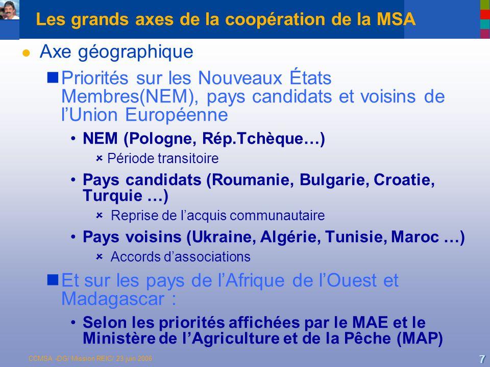 CCMSA -DG/ Mission REIC/ 23 juin 2006 7 Les grands axes de la coopération de la MSA l Axe géographique Priorités sur les Nouveaux États Membres(NEM), pays candidats et voisins de lUnion Européenne NEM (Pologne, Rép.Tchèque…) Période transitoire Pays candidats (Roumanie, Bulgarie, Croatie, Turquie …) Reprise de lacquis communautaire Pays voisins (Ukraine, Algérie, Tunisie, Maroc …) Accords dassociations Et sur les pays de lAfrique de lOuest et Madagascar : Selon les priorités affichées par le MAE et le Ministère de lAgriculture et de la Pêche (MAP)