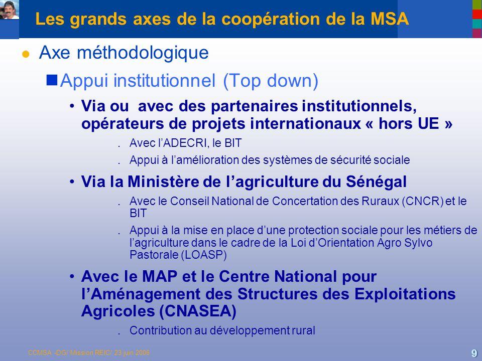 CCMSA -DG/ Mission REIC/ 23 juin 2006 10 Les grands axes de la coopération de la MSA l Axe méthodologique Expérimentation de terrain (Bottom up) Avec lUnion Nationale des Producteurs de Coton Burkinabés (UNPCB) et le Réseau dAppui aux Mutuelles de Santé (RAMS) Appui à la création dune mutuelle pilote devant faire lobjet dune extension et dune généralisation