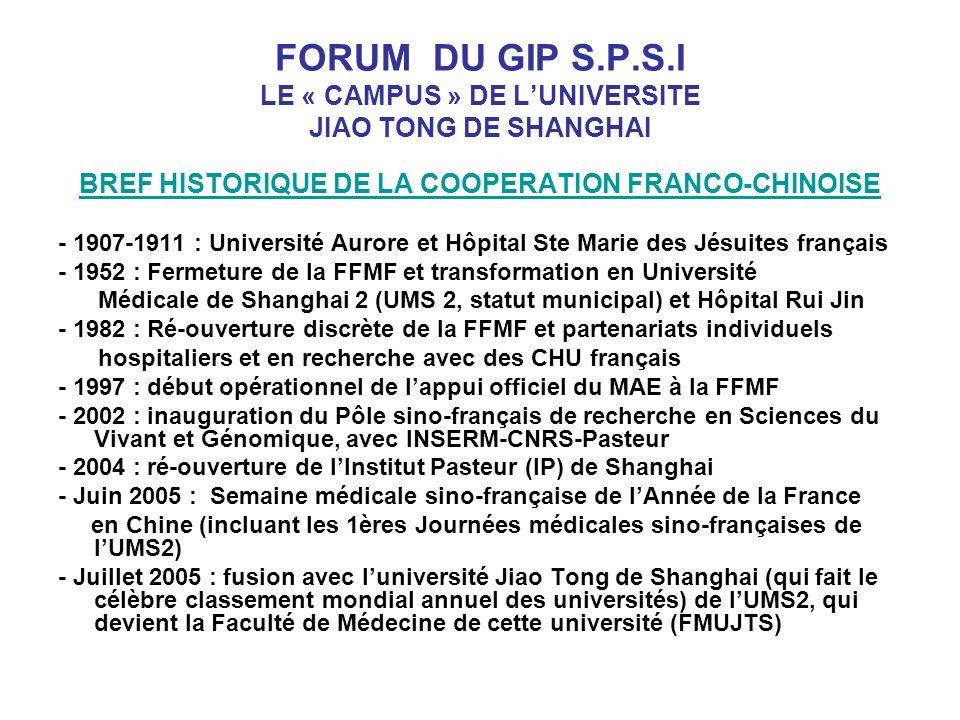 FORUM DU GIP S.P.S.I LE « CAMPUS » DE LUNIVERSITE JIAO TONG DE SHANGHAI BREF HISTORIQUE DE LA COOPERATION FRANCO-CHINOISE - 1907-1911 : Université Aurore et Hôpital Ste Marie des Jésuites français - 1952 : Fermeture de la FFMF et transformation en Université Médicale de Shanghai 2 (UMS 2, statut municipal) et Hôpital Rui Jin - 1982 : Ré-ouverture discrète de la FFMF et partenariats individuels hospitaliers et en recherche avec des CHU français - 1997 : début opérationnel de lappui officiel du MAE à la FFMF - 2002 : inauguration du Pôle sino-français de recherche en Sciences du Vivant et Génomique, avec INSERM-CNRS-Pasteur - 2004 : ré-ouverture de lInstitut Pasteur (IP) de Shanghai - Juin 2005 : Semaine médicale sino-française de lAnnée de la France en Chine (incluant les 1ères Journées médicales sino-françaises de lUMS2) - Juillet 2005 : fusion avec luniversité Jiao Tong de Shanghai (qui fait le célèbre classement mondial annuel des universités) de lUMS2, qui devient la Faculté de Médecine de cette université (FMUJTS)