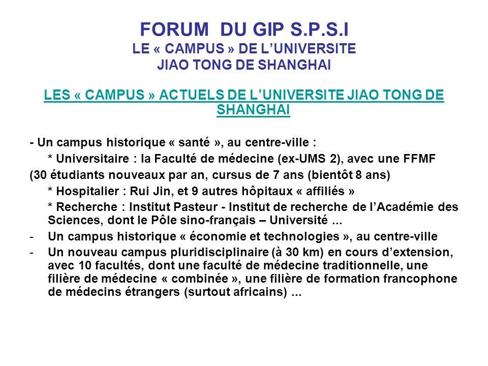 FORUM DU GIP S.P.S.I LE « CAMPUS » DE LUNIVERSITE JIAO TONG DE SHANGHAI LES « CAMPUS » ACTUELS DE LUNIVERSITE JIAO TONG DE SHANGHAI - Un campus historique « santé », au centre-ville : * Universitaire : la Faculté de médecine (ex-UMS 2), avec une FFMF (30 étudiants nouveaux par an, cursus de 7 ans (bientôt 8 ans) * Hospitalier : Rui Jin, et 9 autres hôpitaux « affiliés » * Recherche : Institut Pasteur - Institut de recherche de lAcadémie des Sciences, dont le Pôle sino-français – Université...