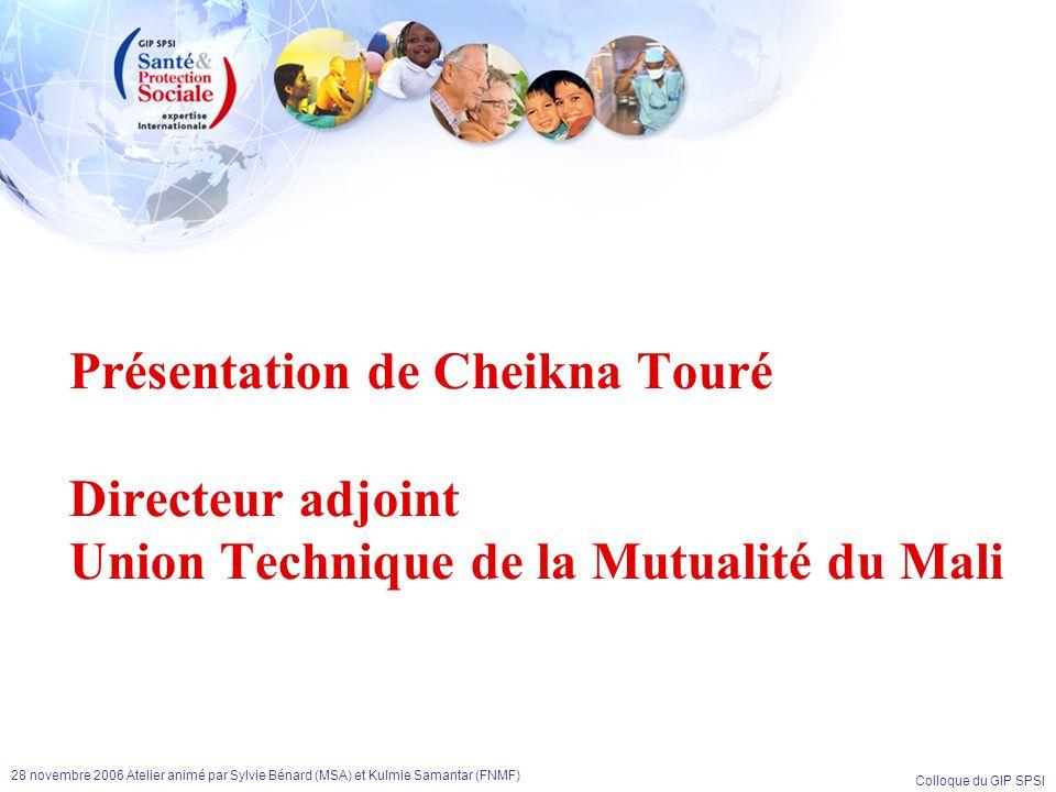Colloque du GIP SPSI 28 novembre 2006 Atelier animé par Sylvie Bénard (MSA) et Kulmie Samantar (FNMF) Présentation de Cheikna Touré Directeur adjoint