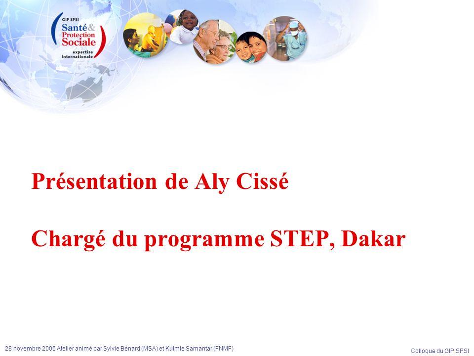 Colloque du GIP SPSI 28 novembre 2006 Atelier animé par Sylvie Bénard (MSA) et Kulmie Samantar (FNMF) Présentation de Aly Cissé Chargé du programme ST