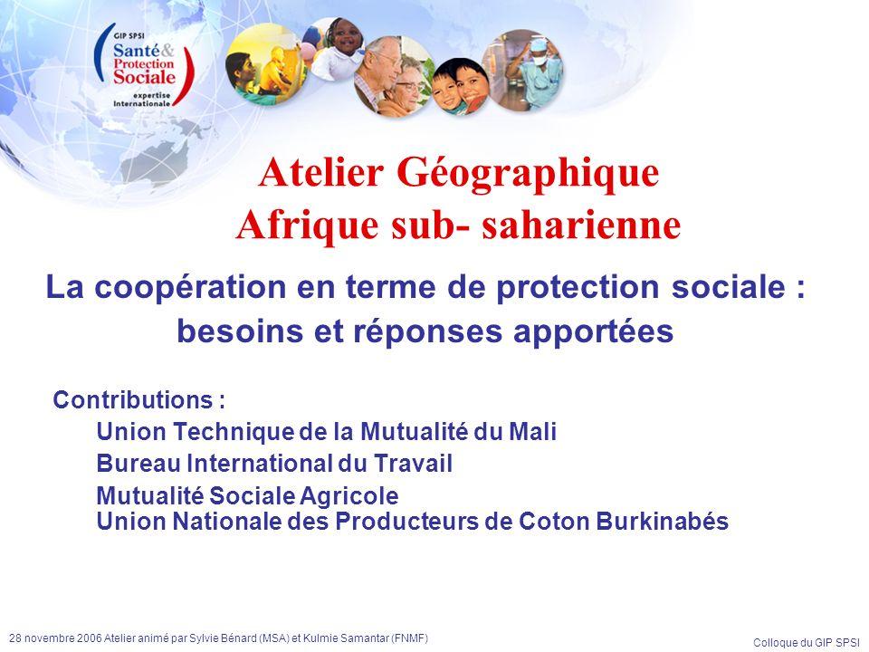 Colloque du GIP SPSI 28 novembre 2006 Atelier animé par Sylvie Bénard (MSA) et Kulmie Samantar (FNMF) Les témoins Cheikna Touré Directeur Adjoint de lUnion Technique de la Mutualité malienne Aly Cissé Chargé du programme STEP du Bureau International du Travail à Dakar