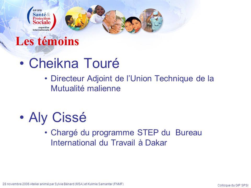 Colloque du GIP SPSI 28 novembre 2006 Atelier animé par Sylvie Bénard (MSA) et Kulmie Samantar (FNMF) Les témoins Cheikna Touré Directeur Adjoint de l