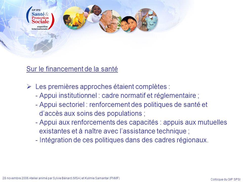 Colloque du GIP SPSI 28 novembre 2006 Atelier animé par Sylvie Bénard (MSA) et Kulmie Samantar (FNMF) Sur le financement de la santé Les premières app