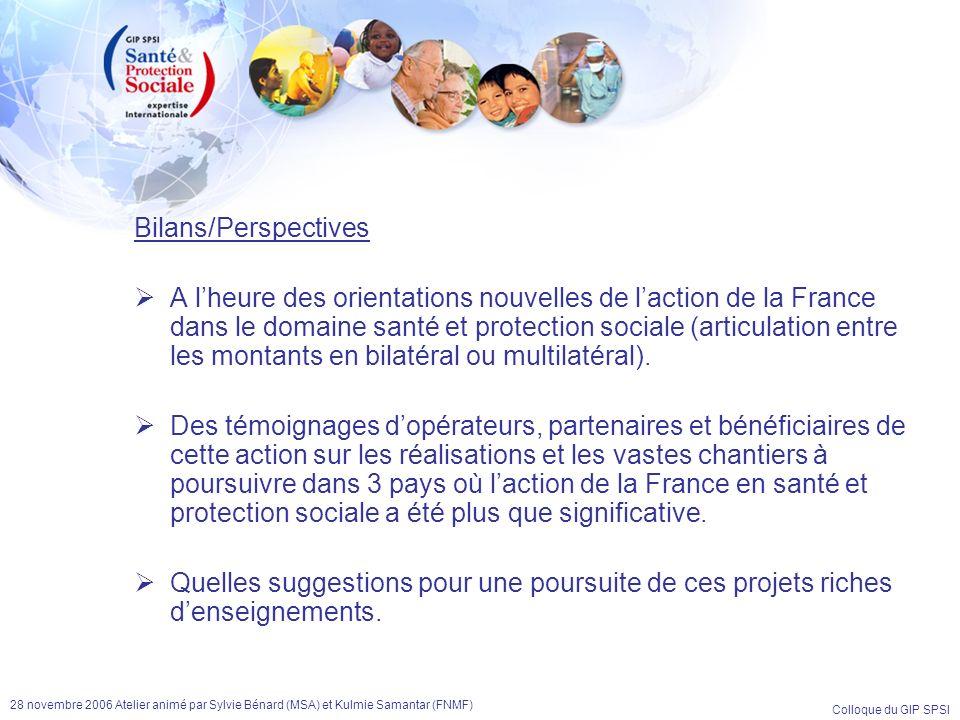 Colloque du GIP SPSI 28 novembre 2006 Atelier animé par Sylvie Bénard (MSA) et Kulmie Samantar (FNMF) Bilans/Perspectives A lheure des orientations no