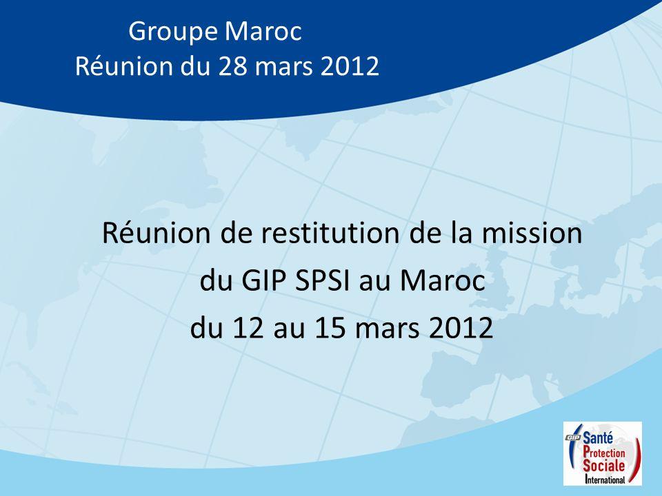 Groupe Maroc Réunion du 28 mars 2012 Réunion de restitution de la mission du GIP SPSI au Maroc du 12 au 15 mars 2012