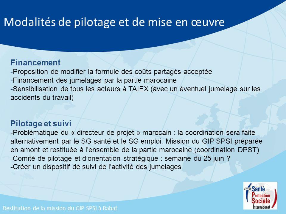 Modalités de pilotage et de mise en œuvre Financement -Proposition de modifier la formule des coûts partagés acceptée -Financement des jumelages par l