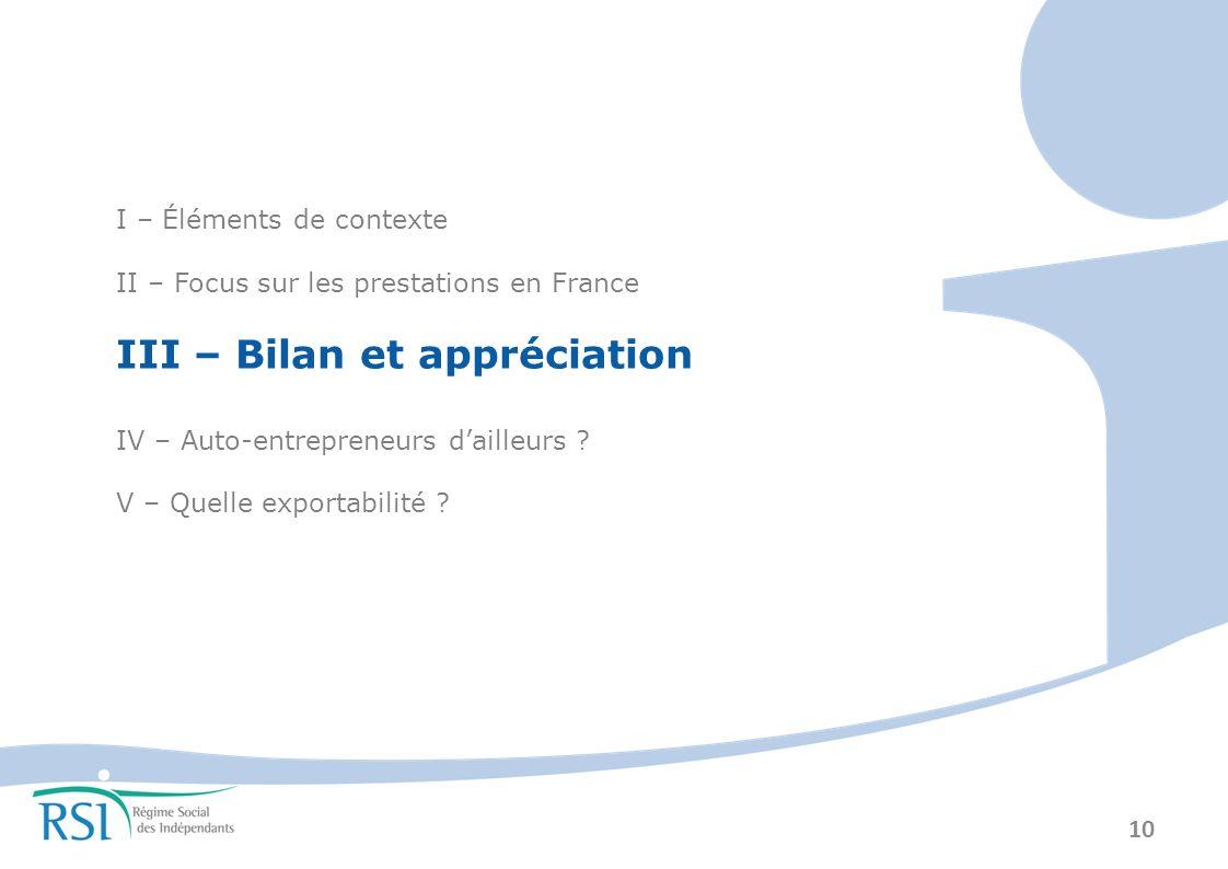 10 I – Éléments de contexte II – Focus sur les prestations en France III – Bilan et appréciation IV – Auto-entrepreneurs dailleurs .