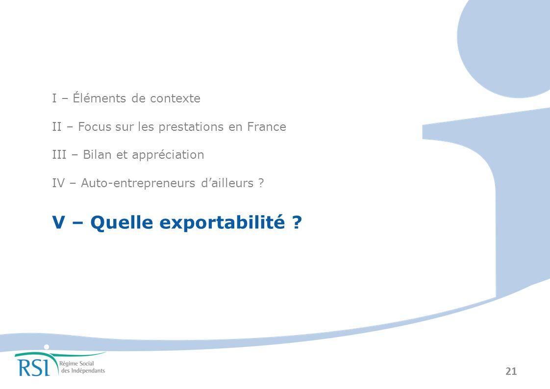 21 I – Éléments de contexte II – Focus sur les prestations en France III – Bilan et appréciation IV – Auto-entrepreneurs dailleurs .