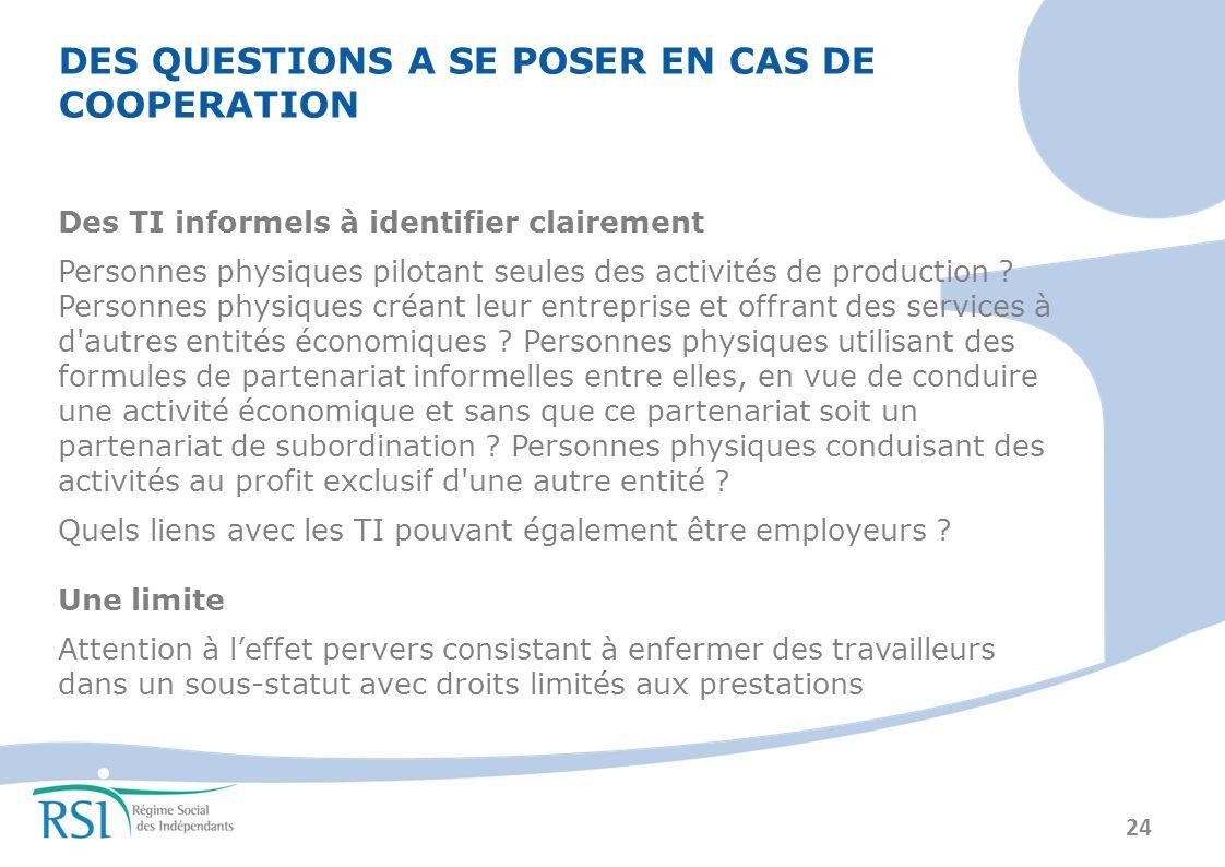 24 DES QUESTIONS A SE POSER EN CAS DE COOPERATION Des TI informels à identifier clairement Personnes physiques pilotant seules des activités de production .