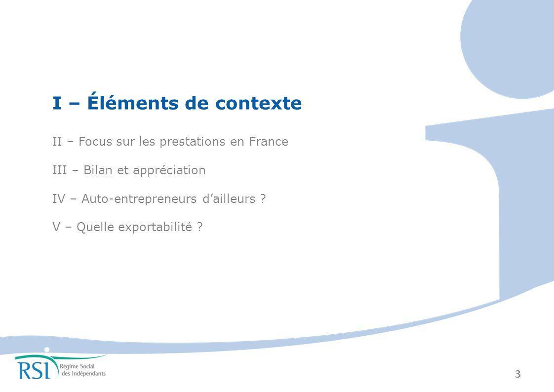 3 I – Éléments de contexte II – Focus sur les prestations en France III – Bilan et appréciation IV – Auto-entrepreneurs dailleurs .