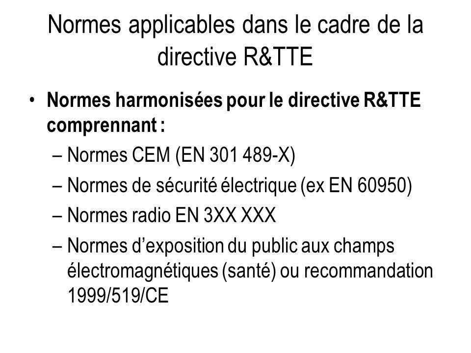 Normes applicables dans le cadre de la directive R&TTE Normes harmonisées pour le directive R&TTE comprennant : –Normes CEM (EN 301 489-X) –Normes de