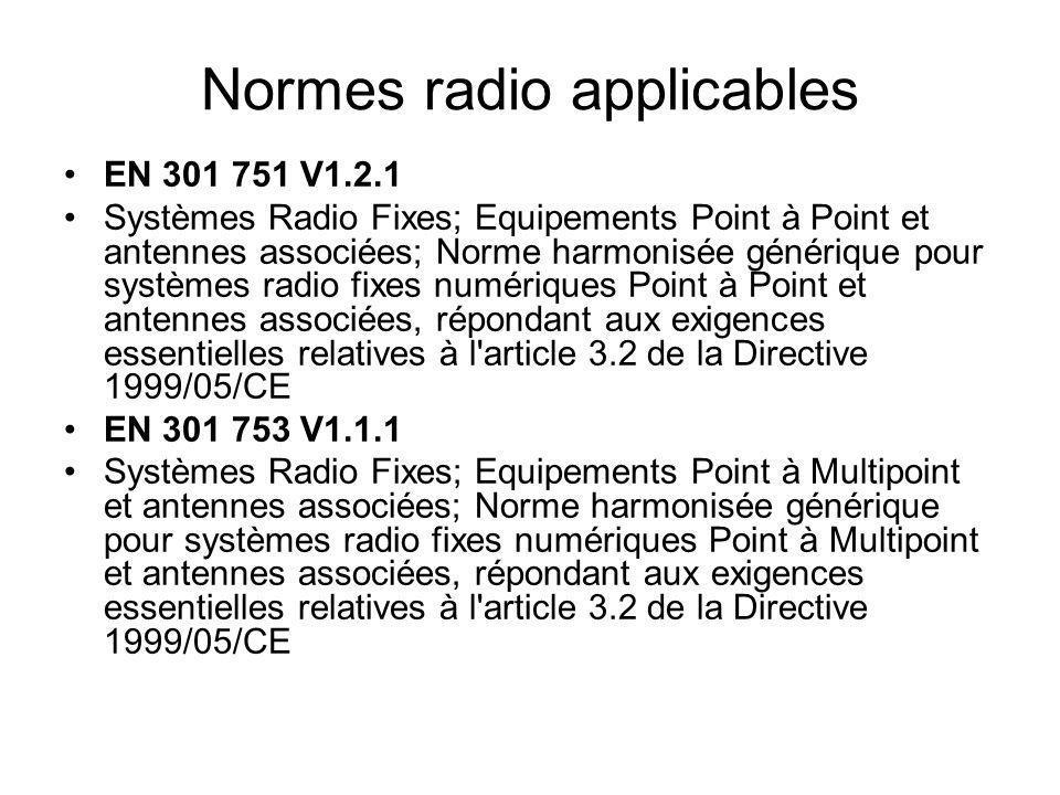 Normes radio applicables EN 301 751 V1.2.1 Systèmes Radio Fixes; Equipements Point à Point et antennes associées; Norme harmonisée générique pour syst
