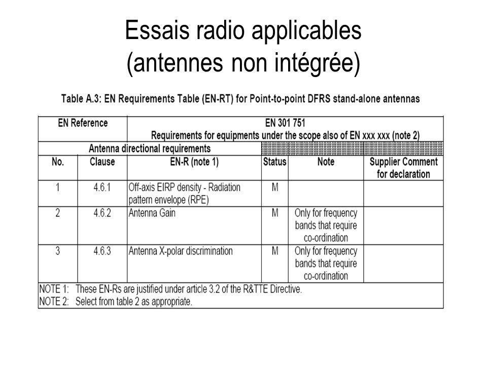 Essais radio applicables (antennes non intégrée)