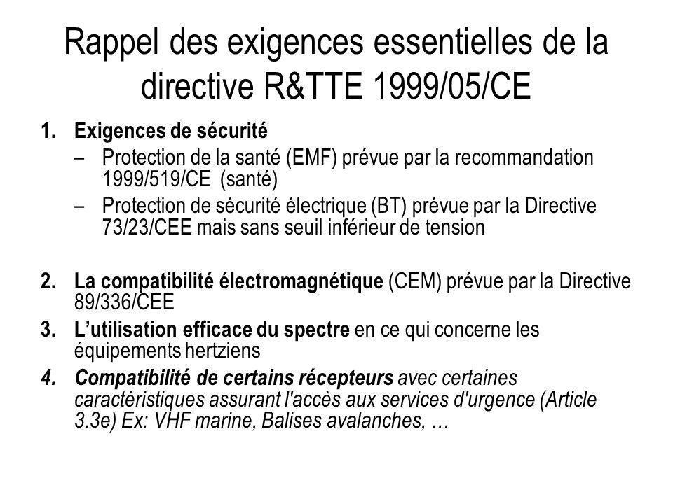 Rappel des exigences essentielles de la directive R&TTE 1999/05/CE 1.Exigences de sécurité –Protection de la santé (EMF) prévue par la recommandation