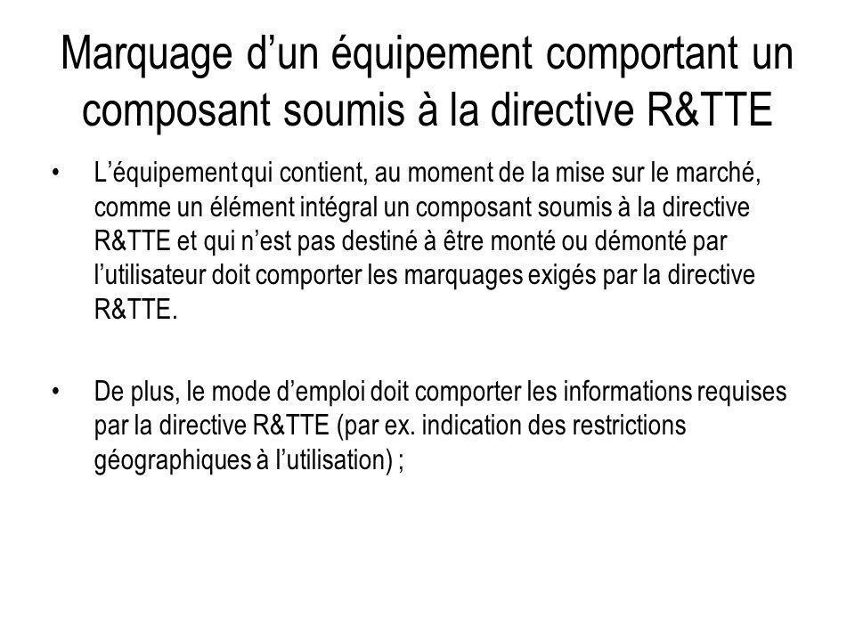 Marquage dun équipement comportant un composant soumis à la directive R&TTE Léquipement qui contient, au moment de la mise sur le marché, comme un élé