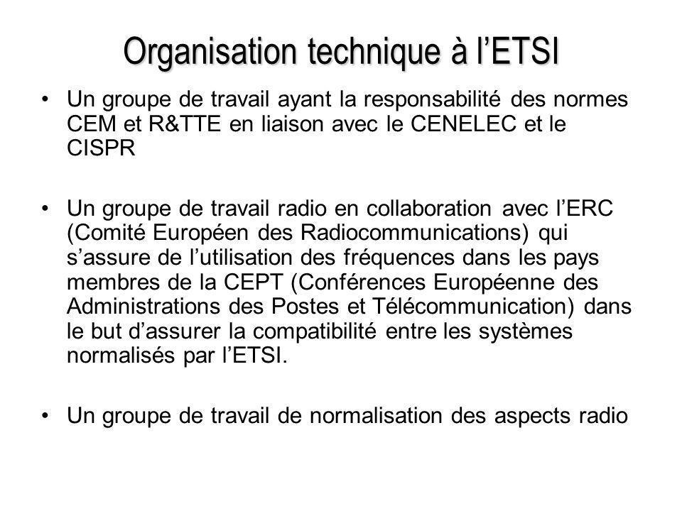 Organisation technique à lETSI Un groupe de travail ayant la responsabilité des normes CEM et R&TTE en liaison avec le CENELEC et le CISPR Un groupe d