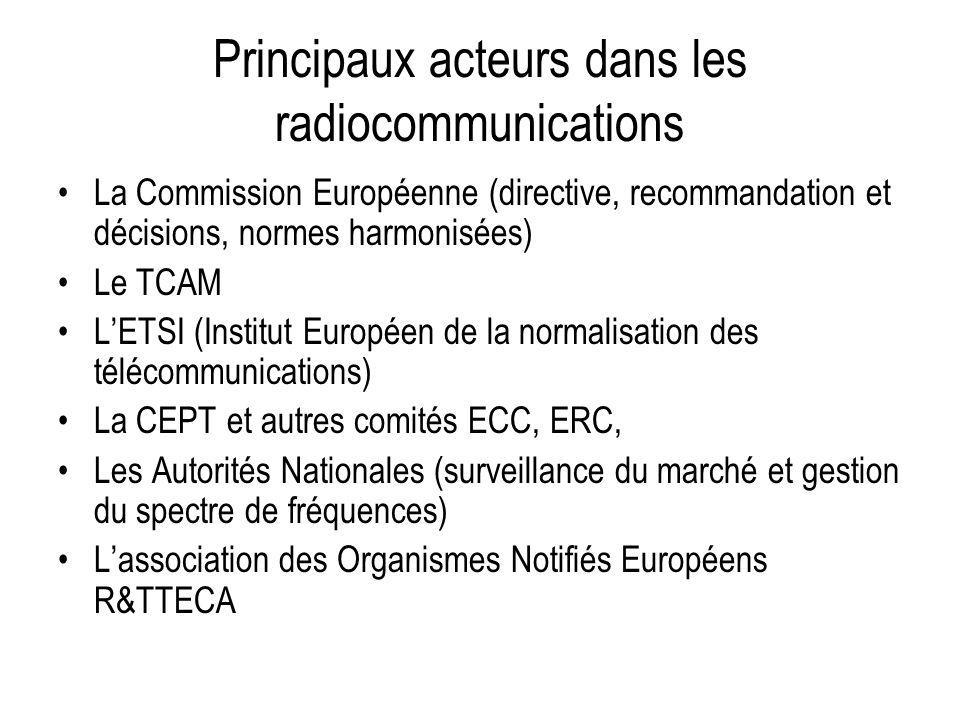 Principaux acteurs dans les radiocommunications La Commission Européenne (directive, recommandation et décisions, normes harmonisées) Le TCAM LETSI (I