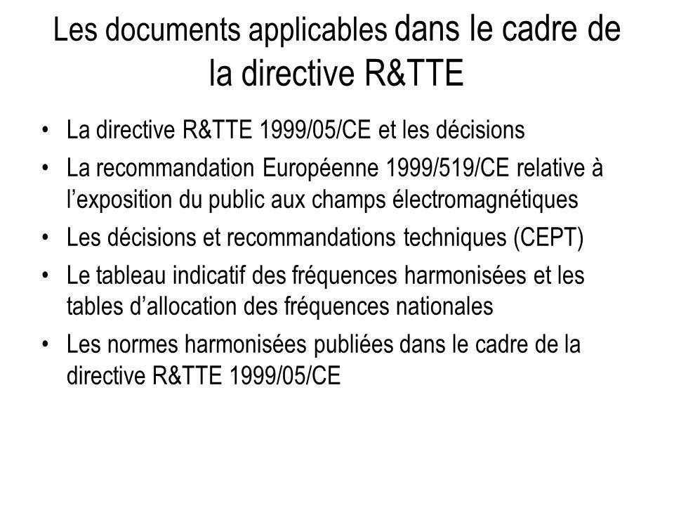 Les documents applicables dans le cadre de la directive R&TTE La directive R&TTE 1999/05/CE et les décisions La recommandation Européenne 1999/519/CE