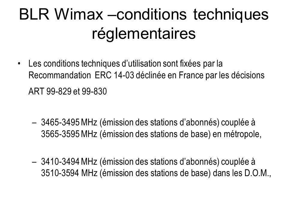 BLR Wimax –conditions techniques réglementaires Les conditions techniques dutilisation sont fixées par la Recommandation ERC 14-03 déclinée en France