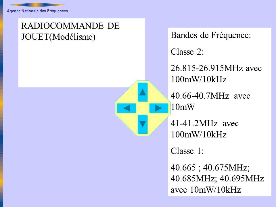 Agence Nationale des Fréquences RADIOCOMMANDE DE JOUET(Modélisme) Bandes de Fréquence: Classe 2: 26.815-26.915MHz avec 100mW/10kHz 40.66-40.7MHz avec 10mW 41-41.2MHz avec 100mW/10kHz Classe 1: 40.665 ; 40.675MHz; 40.685MHz; 40.695MHz avec 10mW/10kHz