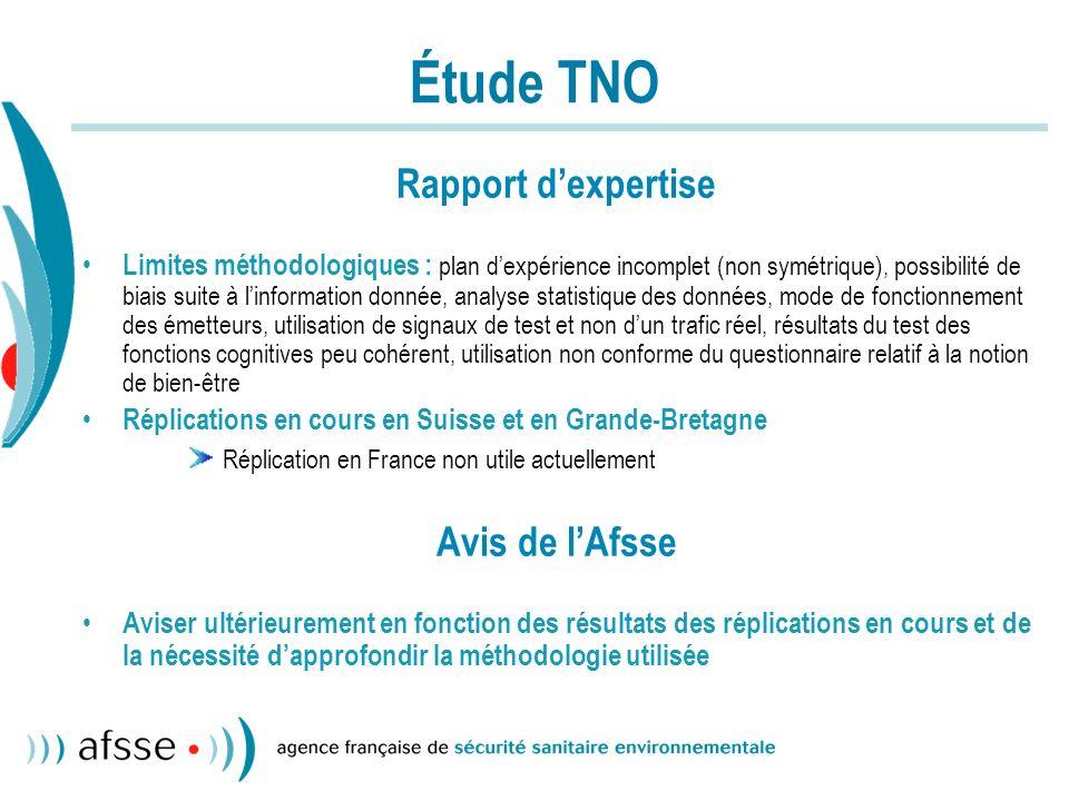 Téléphones mobiles Rapport dexpertise (1) Taux de pénétration en France : 70 % en 2004 Risque de cancers : oLes rayonnements ne sont pas génotoxiques, mais recul encore insuffisant oAttente des résultats de létude Interphone fin 2005.