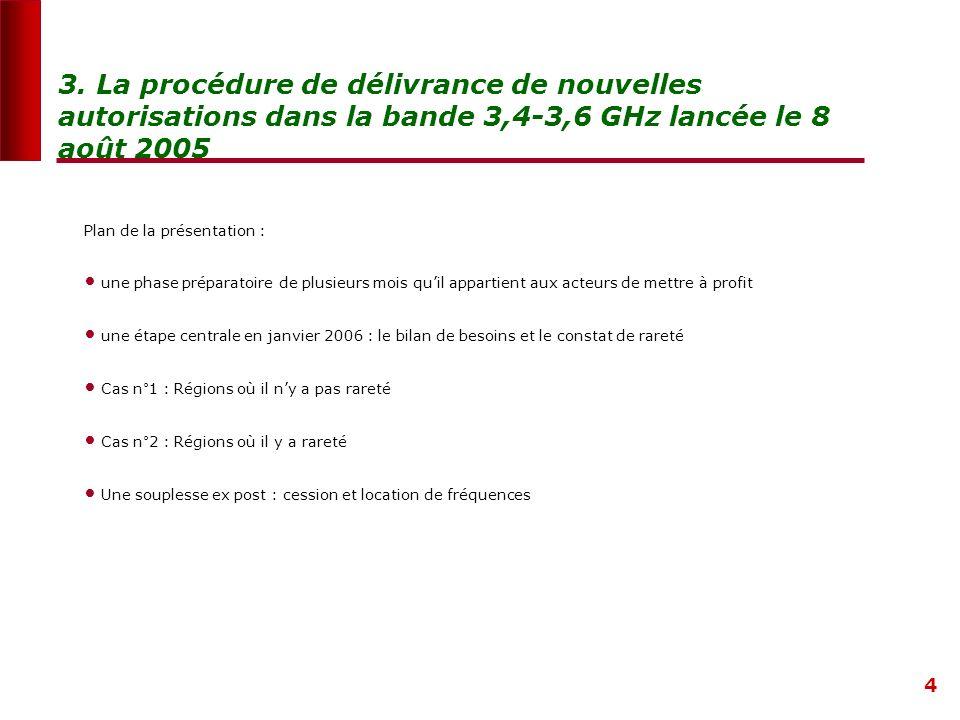 4 3. La procédure de délivrance de nouvelles autorisations dans la bande 3,4-3,6 GHz lancée le 8 août 2005 Plan de la présentation : une phase prépara