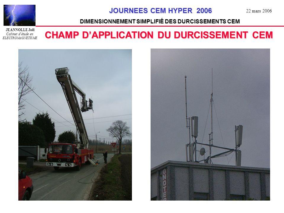 JEANNOLLE Joël Cabinet détude en ELECTROMAGNETISME JOURNEES CEM HYPER 2006 JOURNEES CEM HYPER 2006 DIMENSIONNEMENT SIMPLIFIÉ DES DURCISSEMENTS CEM 22 mars 2006 CONCLUSIONS LAPPROCHE ASYMPTOTIQUE EST CERTAINEMENT LA VOIE OPTIMALE POUR DURCIR UN SYSTEME COMPLEXE ELLE NÉCESSITE CEPENDANT UNE BONNE EXPÉRIENCE EN CEM ET BIEN SOUVENT LA RECHERCHES DE DONNÉES MANQUANTES ELLE NÉCESSITE ÉGALEMENT UNE MÉTHODE PRÉCISE ET LA RIGUEUR DANS SON SUIVI ASSOCIÉE A LA PROBABILITÉ DE CONFORMITÉ, ELLE PERMET AU CONCEPTEUR DOPTIMISER SON ÉTUDE LOUTIL DE BASE EST BIEN SUR LE TABLEUR ET TOUTES LES FONCTIONS QUIL PROPOSE