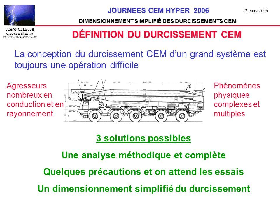 JEANNOLLE Joël Cabinet détude en ELECTROMAGNETISME JOURNEES CEM HYPER 2006 JOURNEES CEM HYPER 2006 DIMENSIONNEMENT SIMPLIFIÉ DES DURCISSEMENTS CEM 22 mars 2006 B0 = pas de blindage B1 => Zt 0 = 0dB /m B2 => Zt 0 = -10dB /m B3 => Zt 0 = -20dB /m B4 => Zt 0 = -30dB /m B5 => Zt 0 = -40dB /m B6 => Zt 0 = -50dB /m Fréquence Modélisation asymptotique: Simple tresse lâche enrubannage Simple tresse Simple tresse optimisée Tresse + enrubannage Double tresses B2 B3 B4 B5 B6 Zt 30 MHz Application aux blindages des câbles Pente en F
